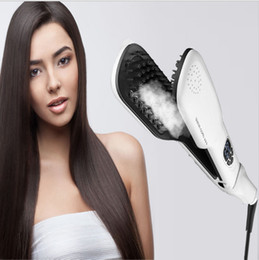 2017 Innovative Products hair straightening iron reviews Electric brush with Steam Irons Fast Hair Straightener Brush