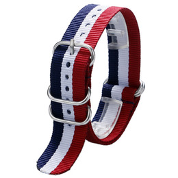Wholesale Cool Watch Bands Women - Wholesale-Cool Netherlands Flag Theme 3 Colors with 5 Rings Nylon Canvas 20 22 mm Watch Strap Band For Men Women Sport Watches