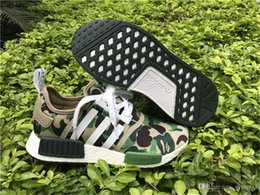 Wholesale AD NMD R1 Green Camo Army quot Bathing quot Ape Nomad Runner BA7326 With Original Box