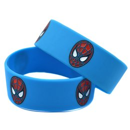 Wholesale 50PCS Lot Spiderman Silicone Bracelet Wristband 1 Inch Wide Band for Animation Fans Promotion Gift