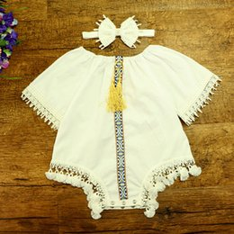 Wholesale Hug Me Baby Rompers Toddler Girls Clothing Spring Fashion Cute Tassels Lace Short Sleeve Cotton Romper with Headband EC