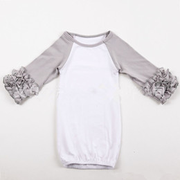 Wholesale 18colors Infant sleep cloth Baby girl boy Cotton Gowns Ruffle Reglan Gown Long Sleeve sleep bag for T