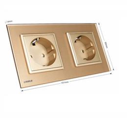 Livolo EU Standard Wall Power Socket, Golden Crystal Glass Panel, Manufacturer of 16A Wall Outlet, VL-C7C2EU-13,15CM*8CM*4CM