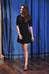 Wholesale Kristen Stewart Sexy Dress - Kristen Stewart Sexy Black A-Line Cocktail Dresses Elegant Half Sleeve Above Knee Party Girl Gowns Robe De Soiree