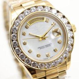 Montres de gros perle en Ligne-Vente en gros luxe marque mens montres or président jour-date gros diamants mère perle cadran diamant lunette inox automatique montres pour hommes