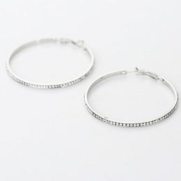 2017 TOP popular earrings With rhinestone circle Simple earrings big circle gold color hoop earrings for women