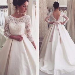 Long Sleeve Lace Wedding Dresses Backless Satin A Line Wedding Gowns Bridal Bride Dress robe de mariage 2017