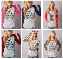 Wholesale Christmas Blouses - Christmas Deer T-Shirt Women Christma Elk Long Sleeve 7 Styles Letters Shirts Xmas Tops Casual Blouse Santa Claus Fashion Plus Size