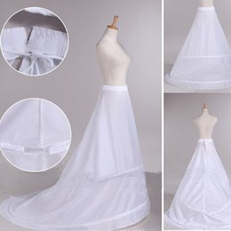 2017 New Arrival Bride Petticoats with Train White 2 Hoops Long Formal Dress Underskirt Crinoline Stock Wedding Accessories
