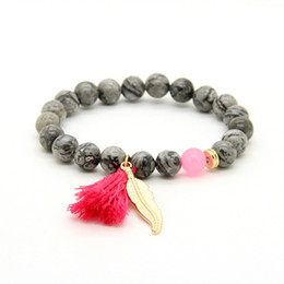 Wholesale New Design mm Grey Picture Jasper Stone Beads with Tassel Leaf Couple Lucky Bracelet