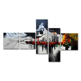 Ville peintures à l'huile de paysage en Ligne-5pcs / set impression peintures à l'huile paysage bâtiment vue de la ville peinture abstraite toile salon décoration de la maison décoration de la maison