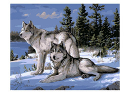 Wholesale No Frame Wolf Animals DIY Painting By Numbers Kits Paint On Canvas Acrylic Coloring Painitng By Numbers For Home Wall Decor