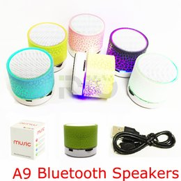 Wholesale Mini Speaker Bluetooth Speakers LED Colored Flash A9 Handsfree Wireless Stereo Speaker FM Radio TF Card USB For iPhone Mobile Phone Computer