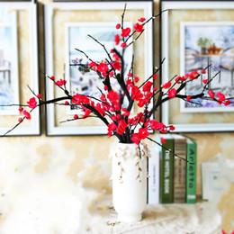 Цветковые деревья для продажи-Искусственные цветы Сливовый цветок Искусственные растения ветки дерева Шелковые цветы для домашнего декора