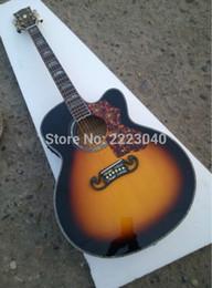 Descuento guitarra corte envío libre Venda al por mayor la guitarra acústica clásica cutaway J200 de la raya Chibson del tigre del color de la puesta del sol de la tapa de calidad superior, tapa Spruce sólida del AAA, envío libre