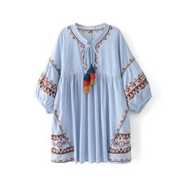 1988 new summer dress folk style heavy embroidery tassel lace ball five straight sleeve dress