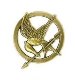 1.3 Inch Antique Gold Bronze Plated The Hunger Games Mockingjay Pin Bird and Arrow Pin Brooch