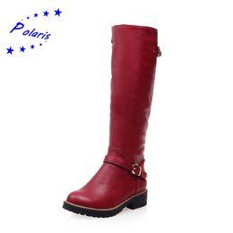 Polaris Bottes Femme Plus Size 34-43 Hauteur du genou Haut Boucle Bas Carré Heel Plain Nouveau Femmes Chaussures d'hiver Noir Gris Rouge SB725 à partir de chaussures simples talons fabricateur