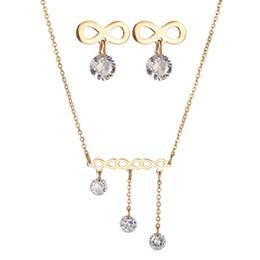 Mariage met en vente à vendre-Hot Sale Luxe 316L bijoux en acier inoxydable de mariage Set Infinity Chain CZ bijoux en pierre de collier Set pour le cadeau de partie