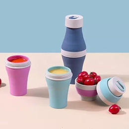 Wholesale Creative Collapsible Detachable Cups for Water Fruit Juice Folding Cup Food Grade Silicone Portable Travel Outdoor Camping