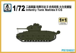 Promotion les types d'incendie Vente en gros- Livraison gratuite PS720057 1/72 Seconde guerre mondiale British Matilda II Tank d'infanterie Type de support incendie (2 paquets) Modèle d'assemblage Inachevé