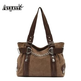 Acheter en ligne Chaîne grand sac-Vente en gros - Double Zipper Canvas Femmes Sacs à main Lady Shoulder Bag Sling Crossbody Bags Rivet Large Shopping Bolsa Casual Totes Chain Hobos