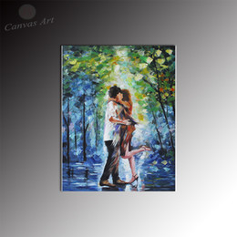 No Framed Oil Knife Painting Repro Lover Hugging Wall Decor Canvas Art Digital Picture Print on Canvas for Bedroom Decoration