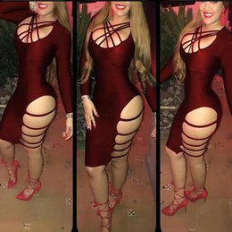 Breaking Europe and the United States sexy tights nightclub dress Sexy tight-fitting irregular long-sleeved bandage dress