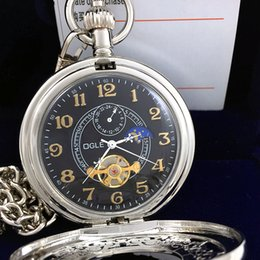 2017 montre automatique vintage mens Ogle Vintage Magnifier Flip Hommes Lady Tourbillon Moon Phase Automatique Mécanique Pendentif Collier Coffret Cadeau peu coûteux montre automatique vintage mens
