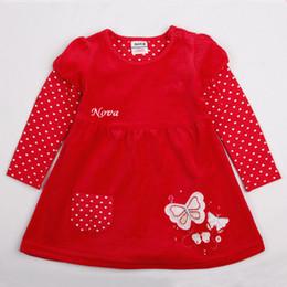 Nove Дети одеваются пять размеров красный экипаж шеи A-line длинный рукав выше колена Хлопок Rhinestone бабочка Paneled вышивка Pocket Button от Производители подкладке панель