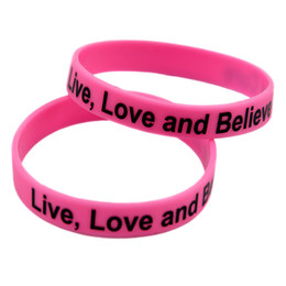 Wholesale 100PCS Lot Live Love And Believe In A Cure Silicone Wristband For Cancer Awareness Bracelet