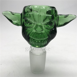 Descuento shisha humo de colores Yoda coloridos gruesos Bowl masculino 18mm 14mm embudo cuencos para vidrio Bong Heady Bong accesorios para fumar Cachimbas Shisha
