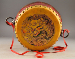 Batterie acoustique en Ligne-SUPERBE CHINESE HANDWORK WONDERFUL BOIS PIGSKIN DRAGON PHOENIX DRUM DECORATION