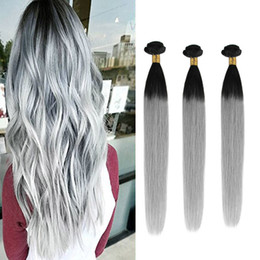 Ombre T1B  Gray Brazilian Hair Weaves 8A Best Quality Double Weft Virgin Human Hair Extensions Silky Straight Hair Bundles Free Shipping