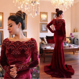 2017 Arabic Gorgeous Long Sleeves Formal Evening Dresses with Beaded Collar Mermaid Burgundy Velvet Long Prom Dress