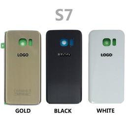 Wholesale Étui en cuir CaseLogo Autocollant de couvercle de batterie de porte de batterie N920 de verre G935 de S7 G930 S7 de Samsung Galaxy couverture de batterie libèrent l expédition DHL