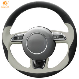 Mewant Beige Leather Black Suede Car Steering Wheel Cover for Audi A1 A3 A5 A7