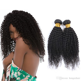 Best Hair Products Afro Kinky Curly Human Hair Weaving Peruvian Mongolian Remy Hair Weave 2Bundles 50g piece Natural Black 8-26inch Dyeable