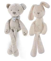 Wholesale Kids Easter Rabbit Plush Toys White and Beige Soft Bunny Sleeping stuffed Doll Toddler Toys Kids Gift