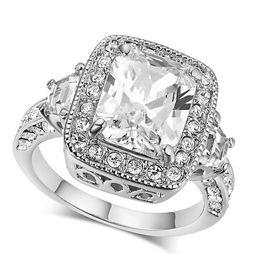 Wholesale fashion personality creative inlay zircon ring plating platinum ring