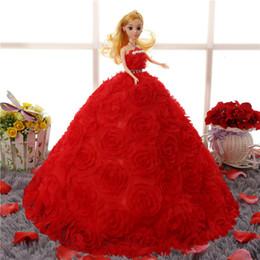 Compra Online Muñecas del bjd-Muñeca de la boda Variedad de estilos Muñeca 3D muñeca Barbie muñeca La mayoría de alta gama ultra alta gama de material de falda de la boda capa