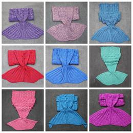 Wholesale Kids Mermaid Tail Blankets Mermaid Fish Scale Blankets Mermaid Sleeping Bags Crocheted Blankets Soft Air Condition Sofa Nap Blankets D333