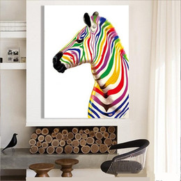 Hand Painted Modern Abstract Animal Art oil painting Colourful Zebra On High Quality Canvas Home Wall Decor Mulit sizes a-TDS