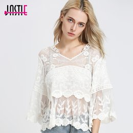 Jastie Cute Embroidered Flower T Shirt Tee Patchwork Hollow Out Crochet Lace Blouse Top Flare Sleeve Loose Blusa Chic Boho Tops Blusas