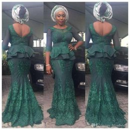 Aso Ebi Evening Dresses With 3 4 Long Sleeves Illusion Peplum Lace Appliques Merrmaid Prom Dress Long Low Back Zipper African Party Dress