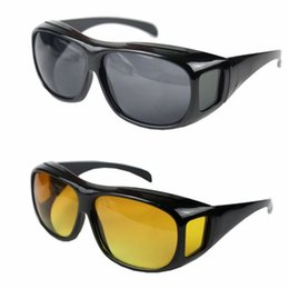 DHL free shipping HD Night Vision Sunglasses Wraparounds Wrap Around Glasses The Day Night Visor For Your Car with Retail box