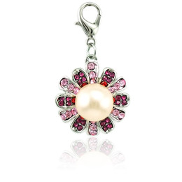 Fashion Lobster Clasp Dangle Pink Rhinestone Flower Mix Pearl Flower Pendants DIY Charms For Jewelry Making Accessories