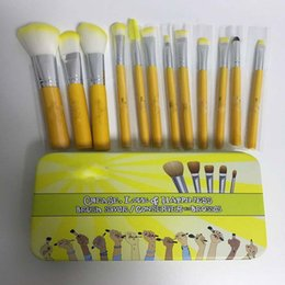 Wholesale make up Brush Yellow wood handle Facail Cosmetic Beauty Tools mini brush with metal box Ladies Supplies Wholesales Price set