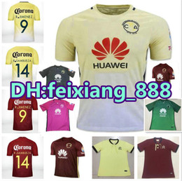 Wholesale Top Thai quality Mexico club America jerseys O PERALTA SAMBUEZA American th anniversary red yellow soccer football jersey