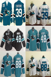 San Jose Sharks Hockey Jersey Ice #39 Logan Couture #88 Brent Burns #48 Tomas Hertl Jersey Home Black Green White Size M-XXXL